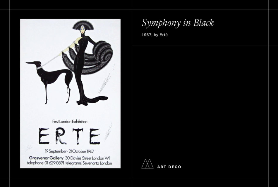 Erte's Symphony in Black poster on a black background