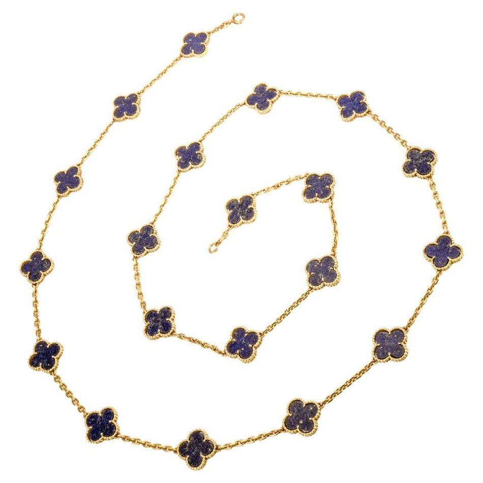 Van Cleef & Arpels lapis lazuli Alhambra 20 motif necklace, 1960s