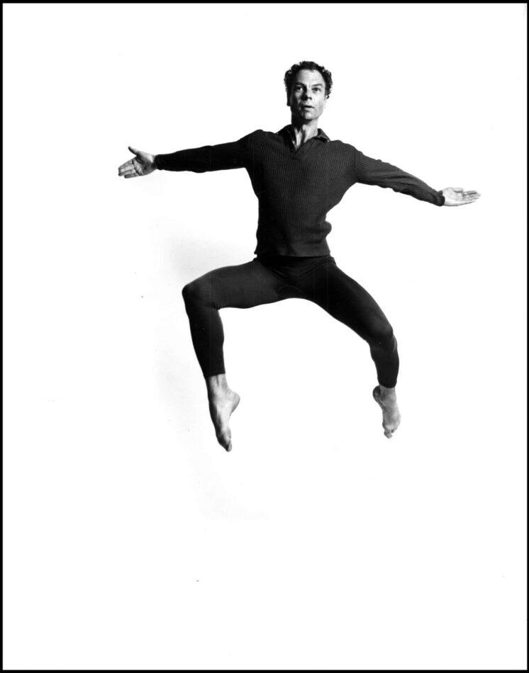 Merce Cunningham leaping, 1962