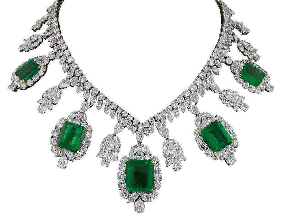 Harry Winston diamond and emerald necklace, 1960s
