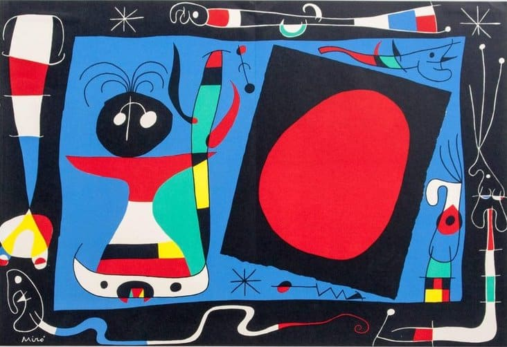 Woman in Front of a Mirror, 1956, by Joan Miró