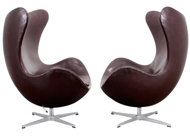 brown leather egg chairs