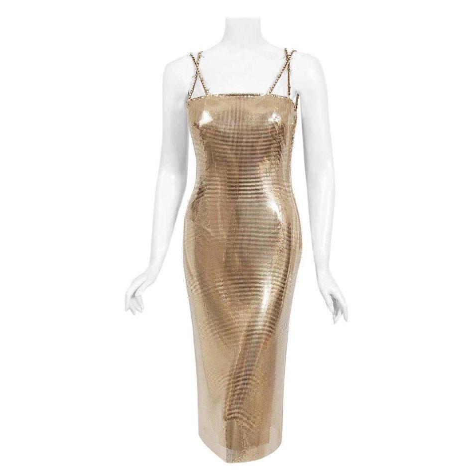 Gianni Versace Couture Gold Metal Mesh Hourglass Dress, 1998