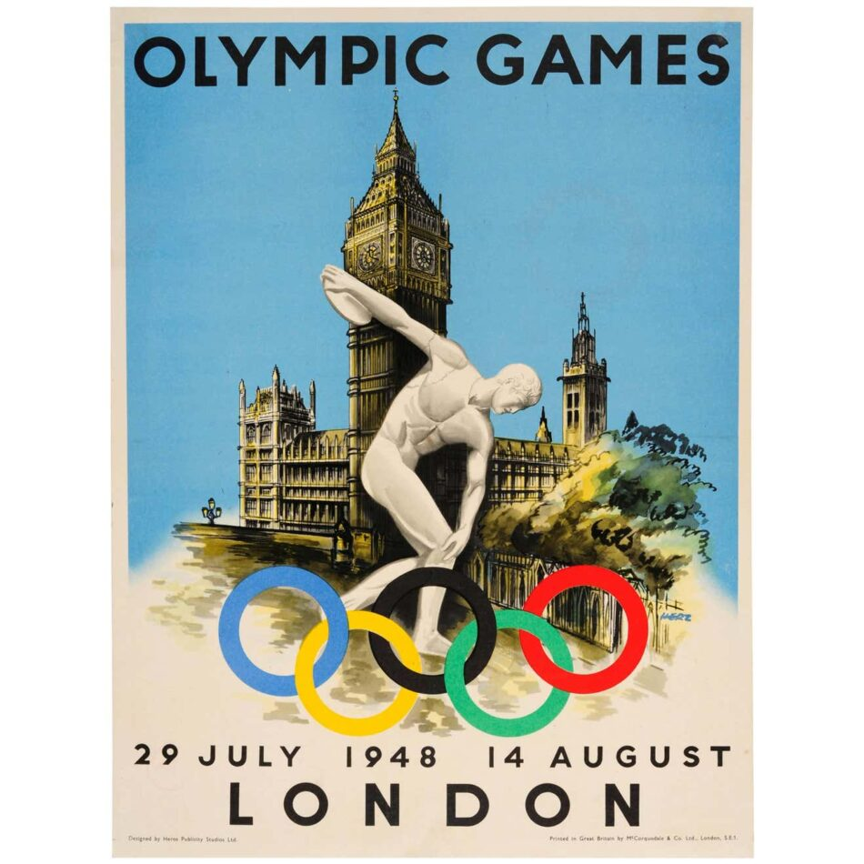 Poster design for the 1948 London Olympic Games depicting the Discobolus of Myron statue, the Olympic rings, and the Big Ben clock tower