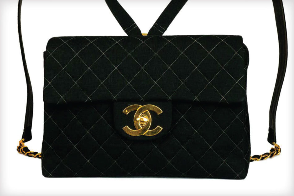 Chanel Jumbo Flap Quilted Wool Leather Backpack