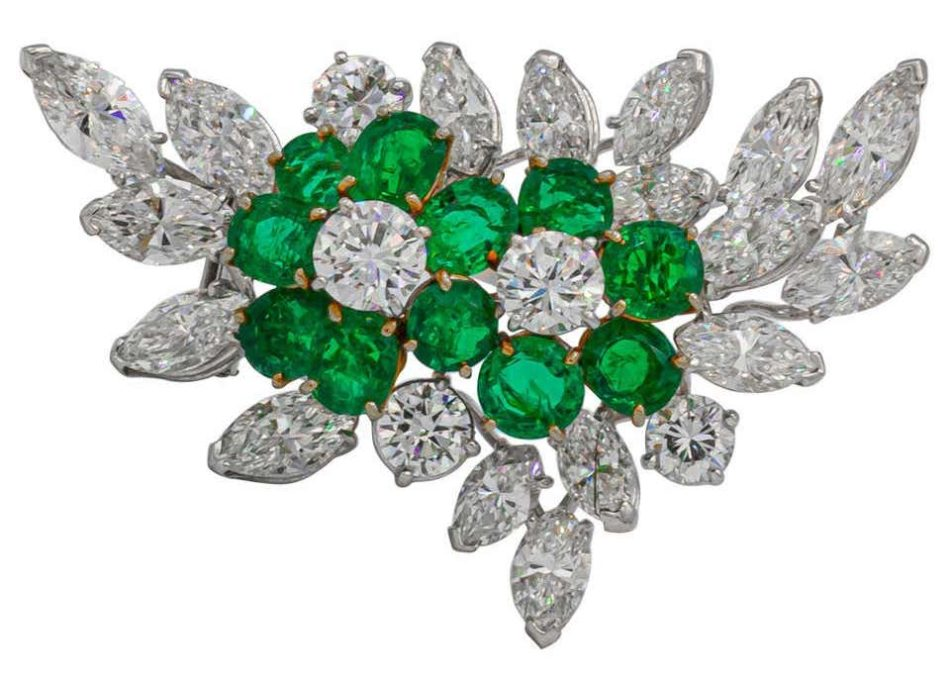 Van Cleef & Arpels 6+ Carat Emeralds and 12 Carat Diamonds Platinum Brooch