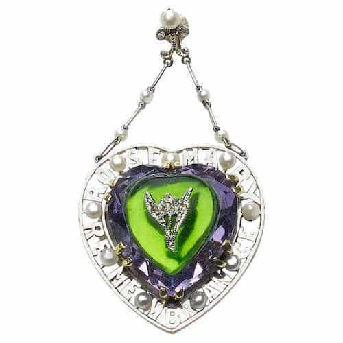 Amethyst, diamond and glass suffragette pendant, circa 1913