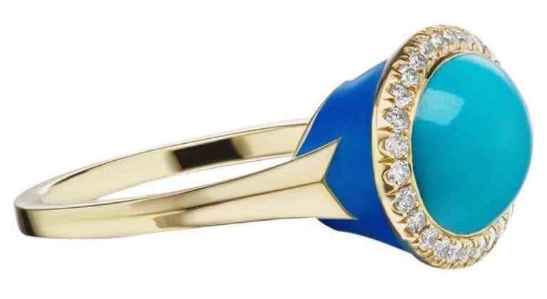 Charlotte Allison 14 Karat Yellow Gold Blue Enamel Turquoise Cabochon and Diamond Ring