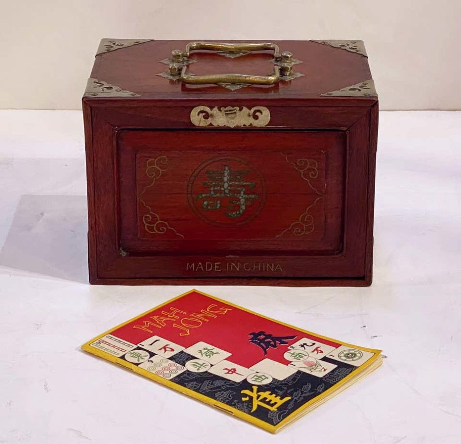 MahJong game set in cabinet box, circa early 20th century