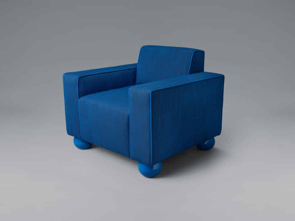Another Human Baby Blue Upholstered armchair
