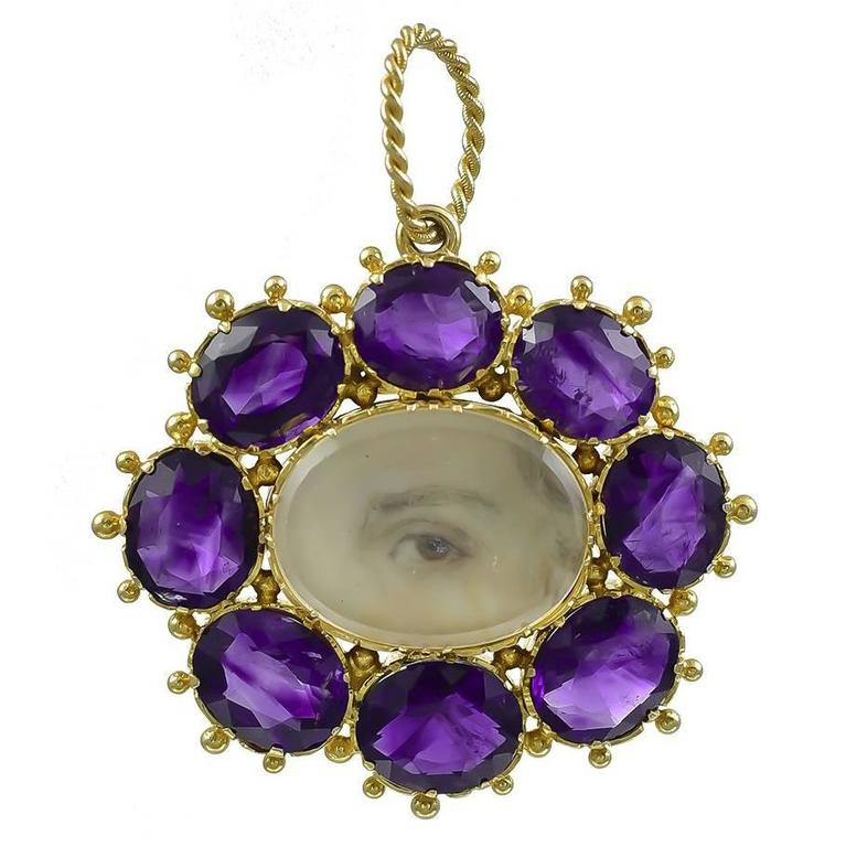 Georgian Gold Lover's Eye Pendant