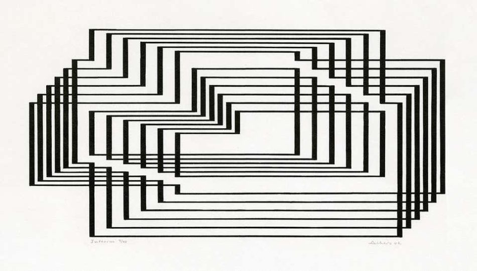 """Interim, from the series """"Graphic Tectonics,"""" 1942, by Josef Albers"""
