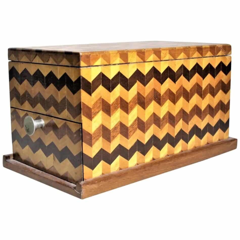Mid-Century Parquetry Decorative Jewelry Box with Side Drawer and Mirror
