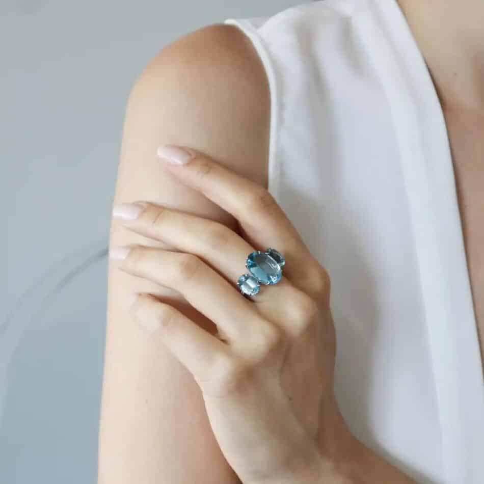 Paolo Costagli aquamarine and diamond ring, 2018