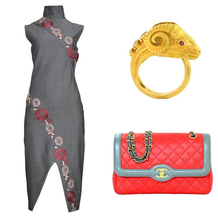 Alexander McQueen dress, ram ring, Chanel bag