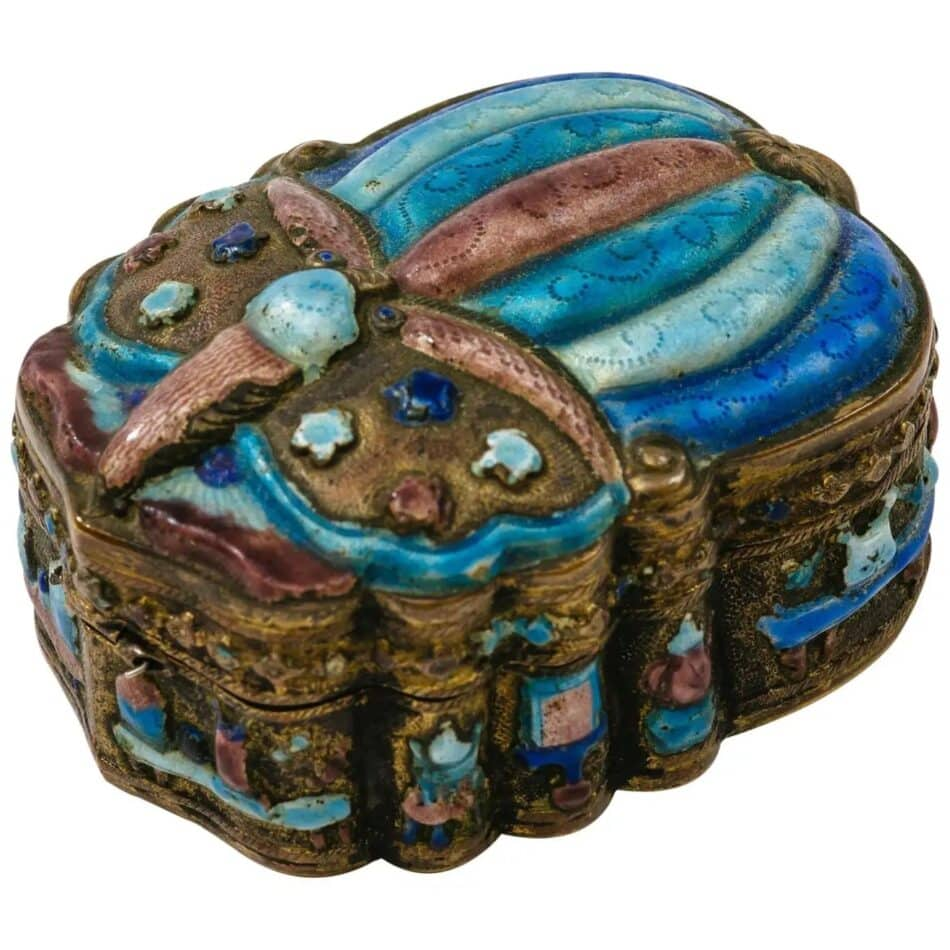 Antique Chinese Champlevé Enamel Scarab Jewelry Box