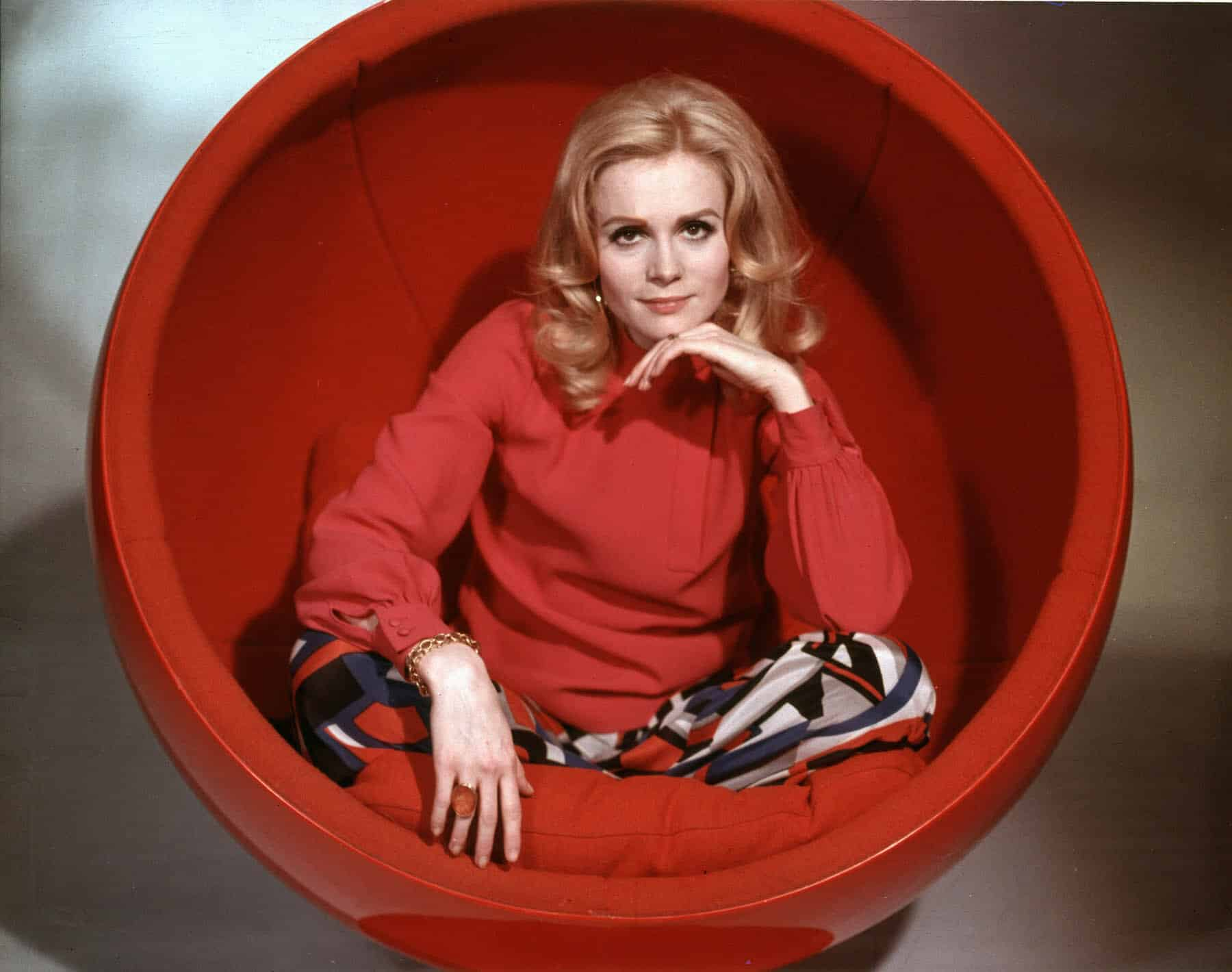 Françoise Dorléac in Eero Aarnio's Ball chair for the film Billion Dollar Brain