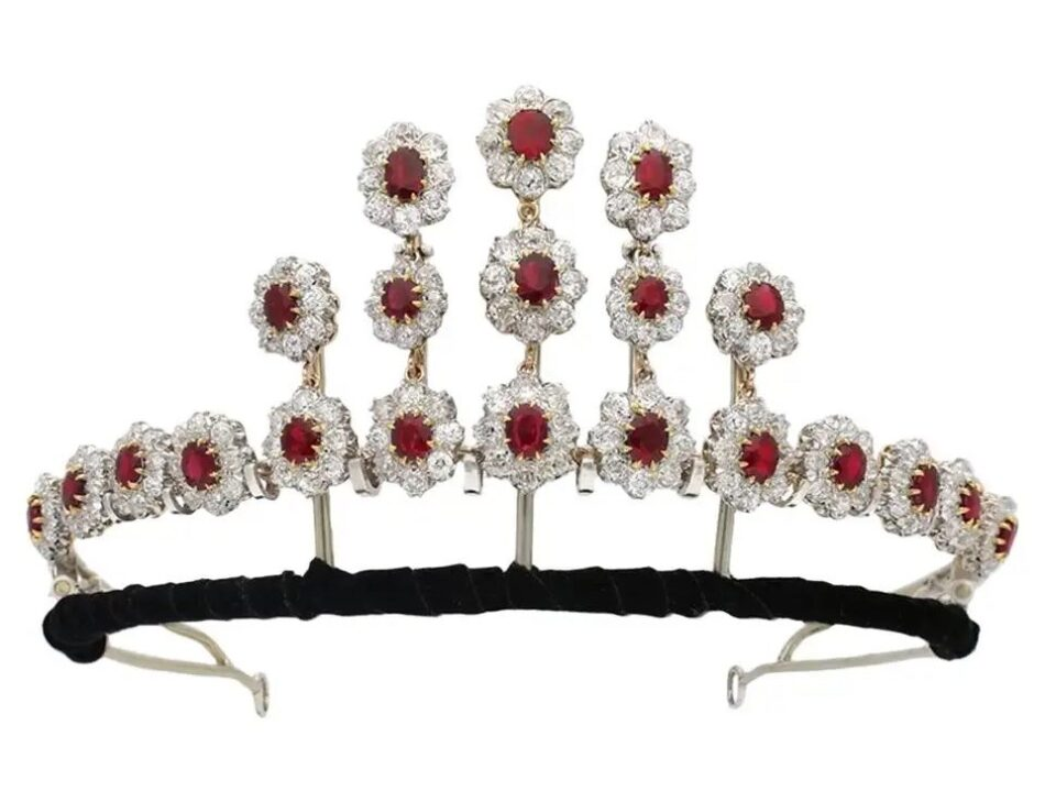 Pigeon's blood Burmese ruby and diamond tiara, ca. 1915, offered by Berganza