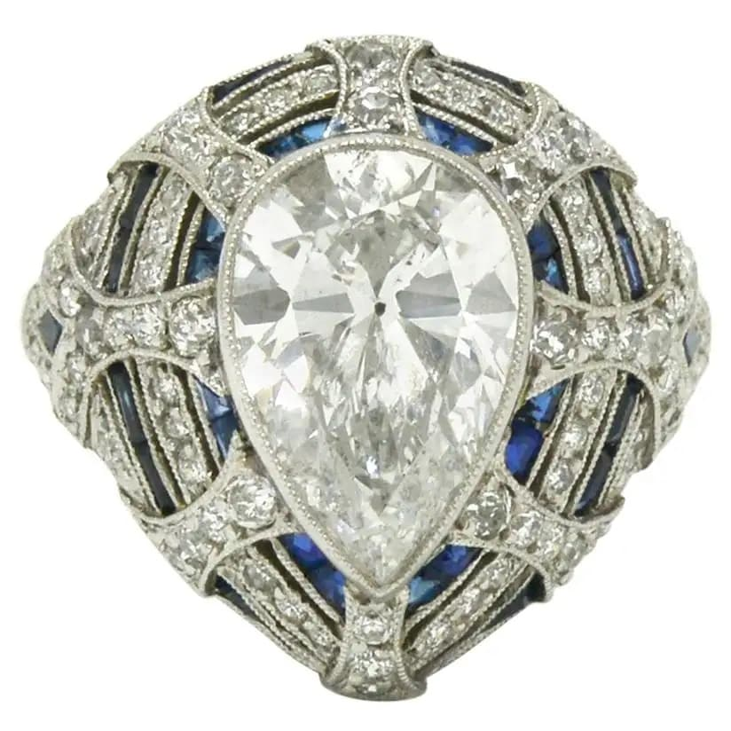 Art Deco–style bombe ring, 1960s, offered by Bella Rosa Galleries