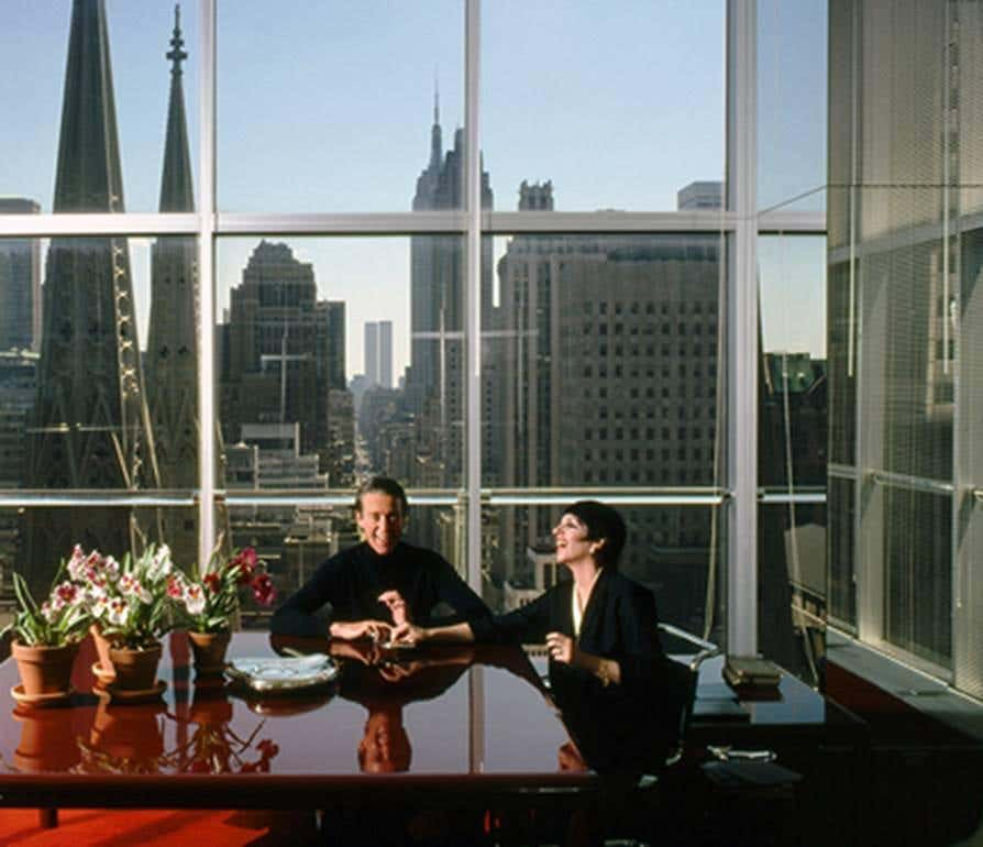 The real Halston and Liza Minnelli in Halston's Olympic Tower office on New York's Fifth Avenue in a 1978 photograph by Harry Benson