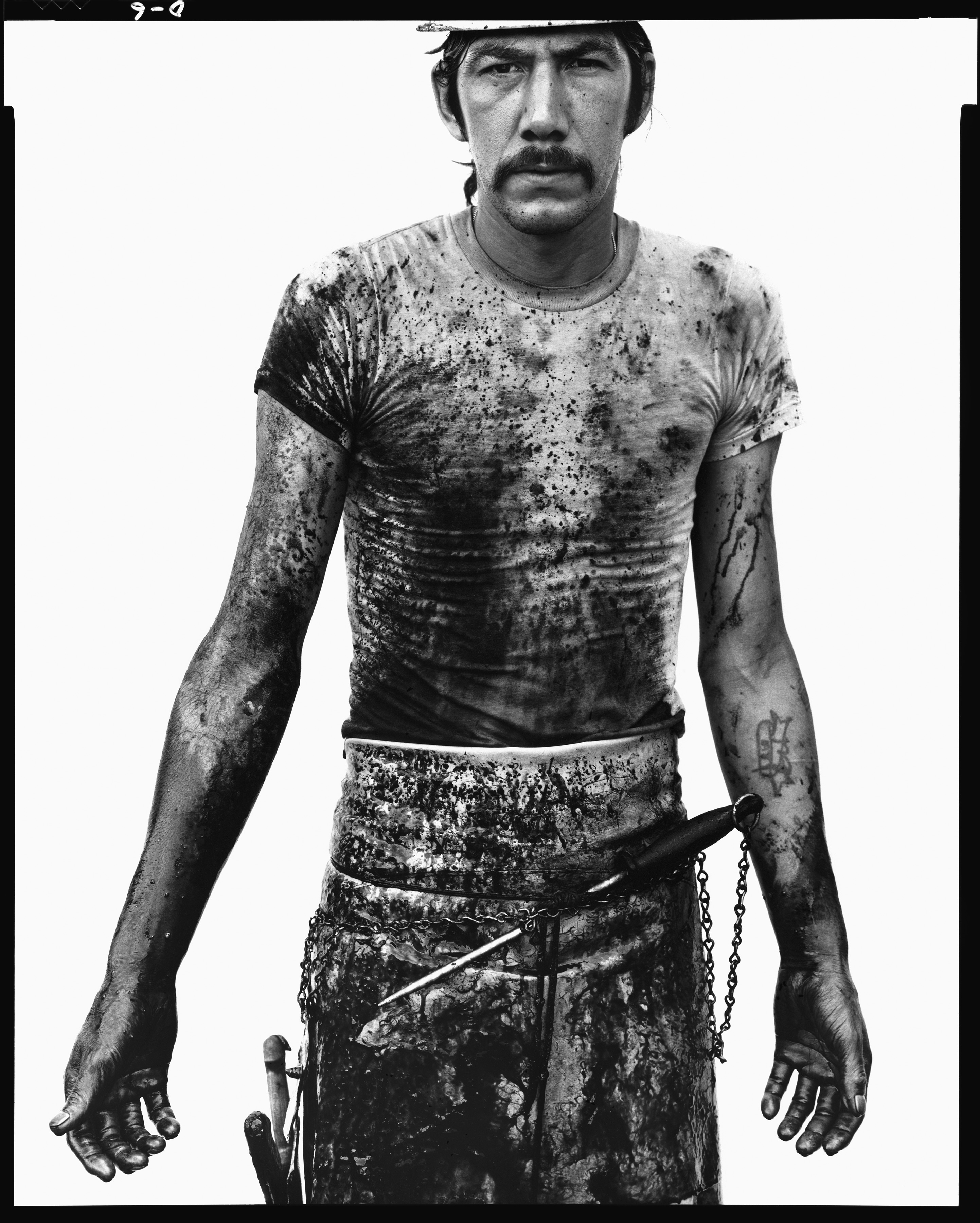Blue Cloud (Larry) Wright, slaughterhouse worker, Omaha, Nebraska, August 10, 1979, by Richard Avedon