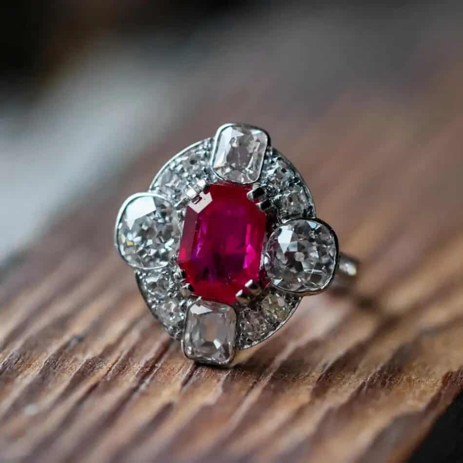 Burmese ruby and diamond ring, ca. 2000, offered by the Blue Paisley Fox
