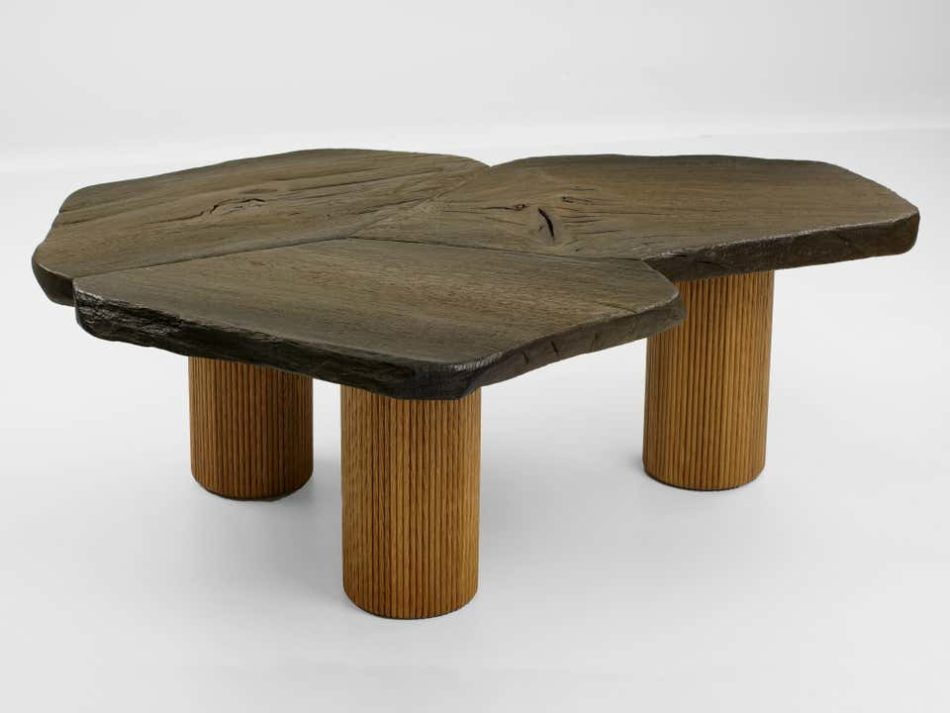 The top of this Thomas Newman coffee table is made from 3,000-year-old reclaimed bog oak.