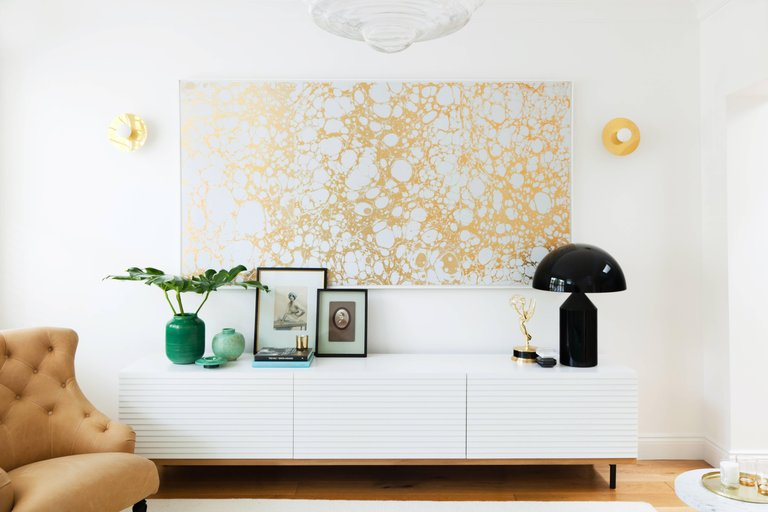 Wabi Bone in Gold Metallic by Calico Wallpaper