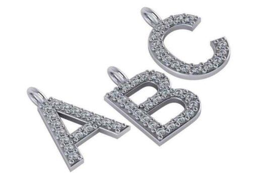 Diamond Gemstone Initial Pendant
