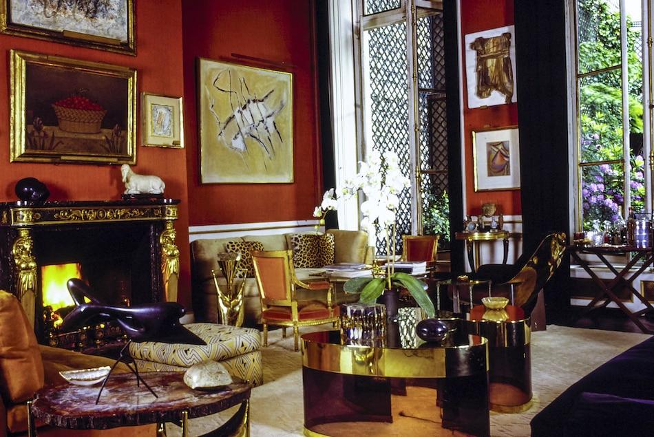 red living room by Henri Samuel