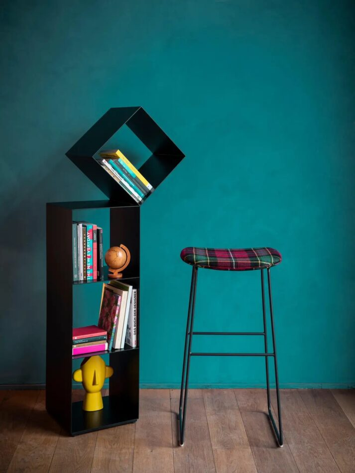 Nendo Medium Drop Bookcase made of Matte Lacquered Laser-Cut Sheet Metal