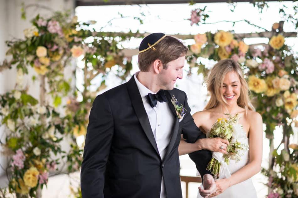 Alex Cole and Morgan Cole wedding Saint Laurent dress