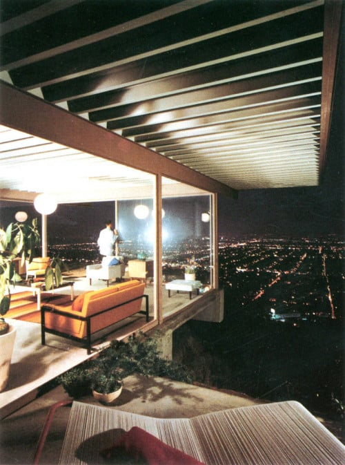 "Glowing glass orbs figure prominently in Julius Shulman's ""Case Study House #22, Los Angeles, CA, 1960"" offered by Yancey Richardson Gallery."