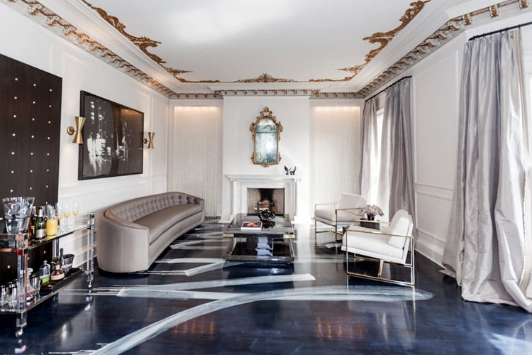 Catherine-Kwong-SF-Showcase-2013-1970s-euro-glam-living-room-round-sofa-black-white-photography-brass-Lucite-barcart