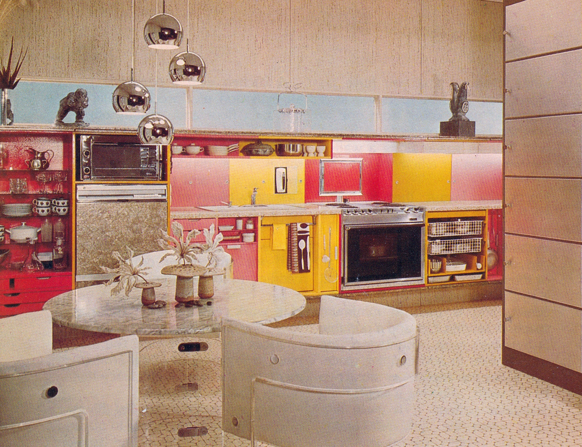 Techicolor kitchen fantasia featured in the 1975 Better Homes Decorating Book.
