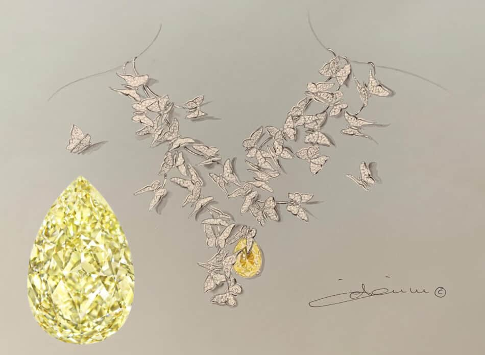 Édéenne sketched a necklace for this GIA-certified 15.63-carat fancy yellow diamond