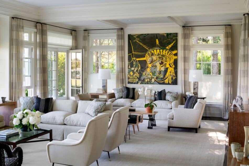 David Kleinberg Design Associates-designed living room on Long Island's East End
