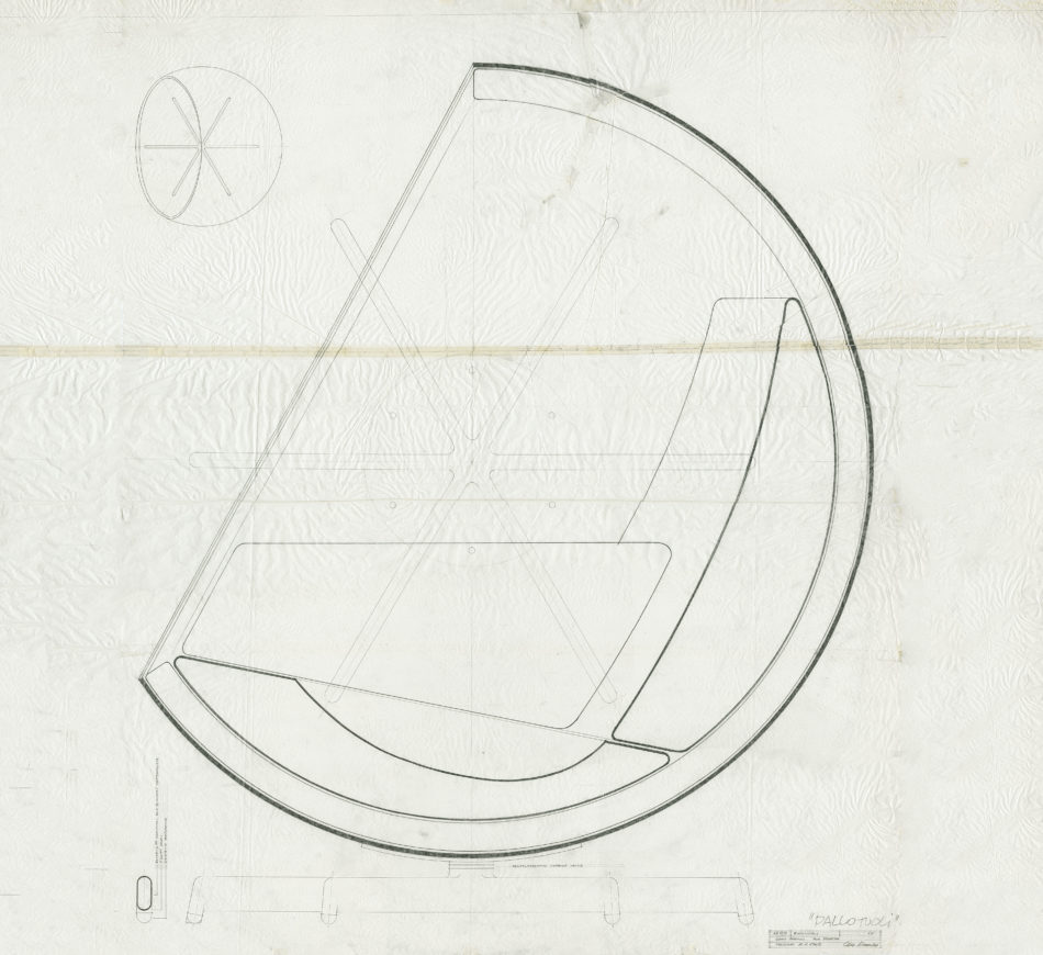 Aarnio's original 1963 sketch of the Ball chair.