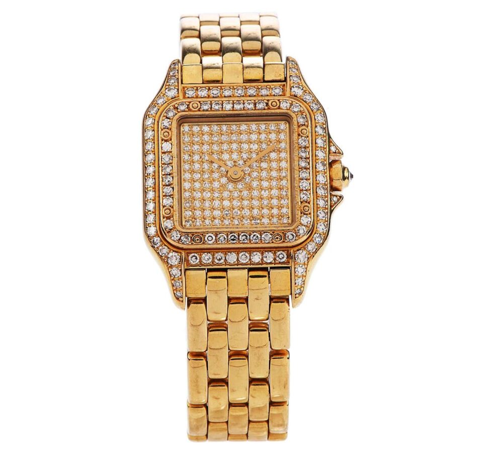 Cartier Panthère diamond-face watch in yellow gold