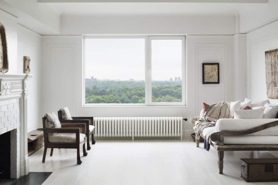 White living room by Andrianna Shamaris in New York