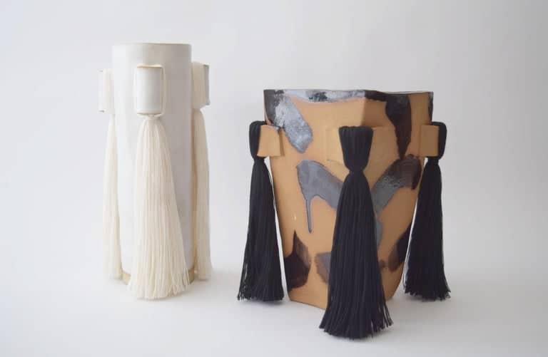Karen Gayle Tinney Vase #607 and ceramic vase with black brushstrokes.