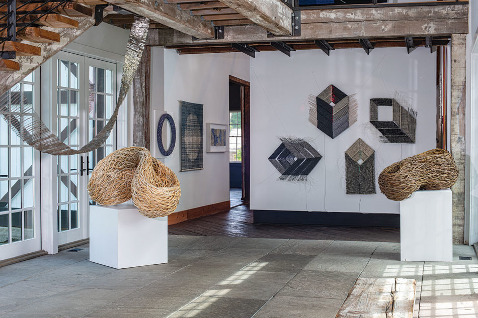 """Works from the current browngrotta arts exhibition, """"Volume 50: Chronicling Fiber Art for Three Decades"""""""
