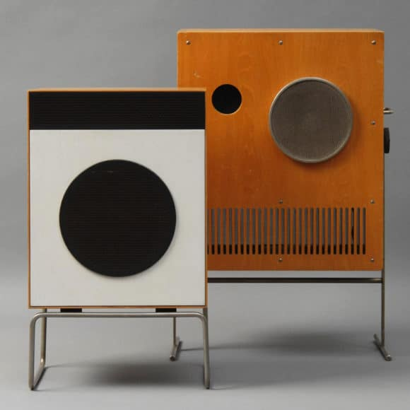 At left, a Braun L2 speaker by Dieter Rams, 1958. At right, a Braun VS 1-32 speaker by Karl Clauss Dietel and Lutz Rudolph, 1965.