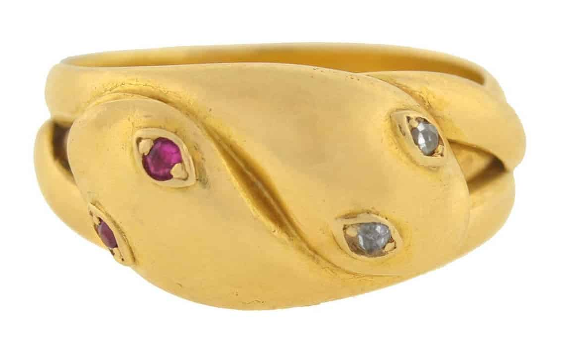 Ruby, diamond and gold double snake ring, ca. 1880
