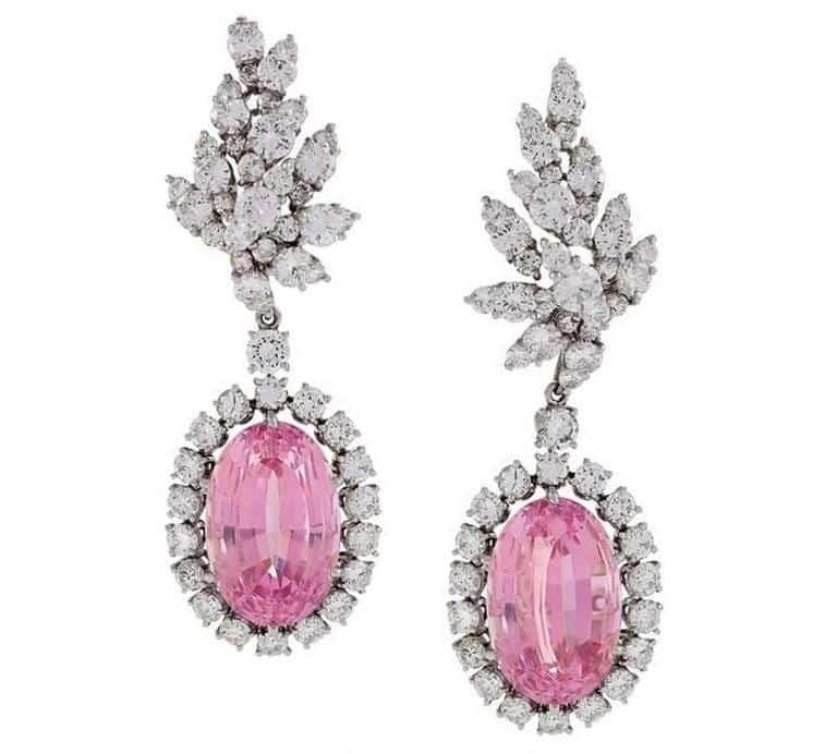 Verdura 1980s Kunzite Diamond Platinum Earrings