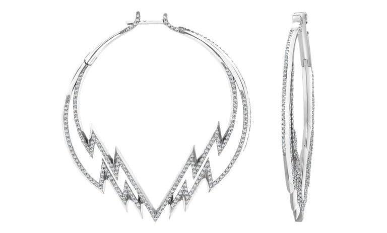 Venyx World white gold and diamond Electra hoop earrings, 2014