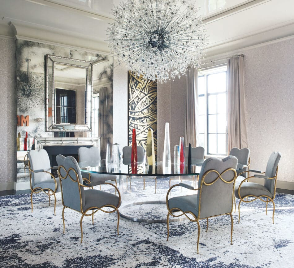 Timothy Haynes and Kevin Roberts add sparkle to a Manhattan apartment with a grandly scaled chandelier by J. & L. Lobmeyr.