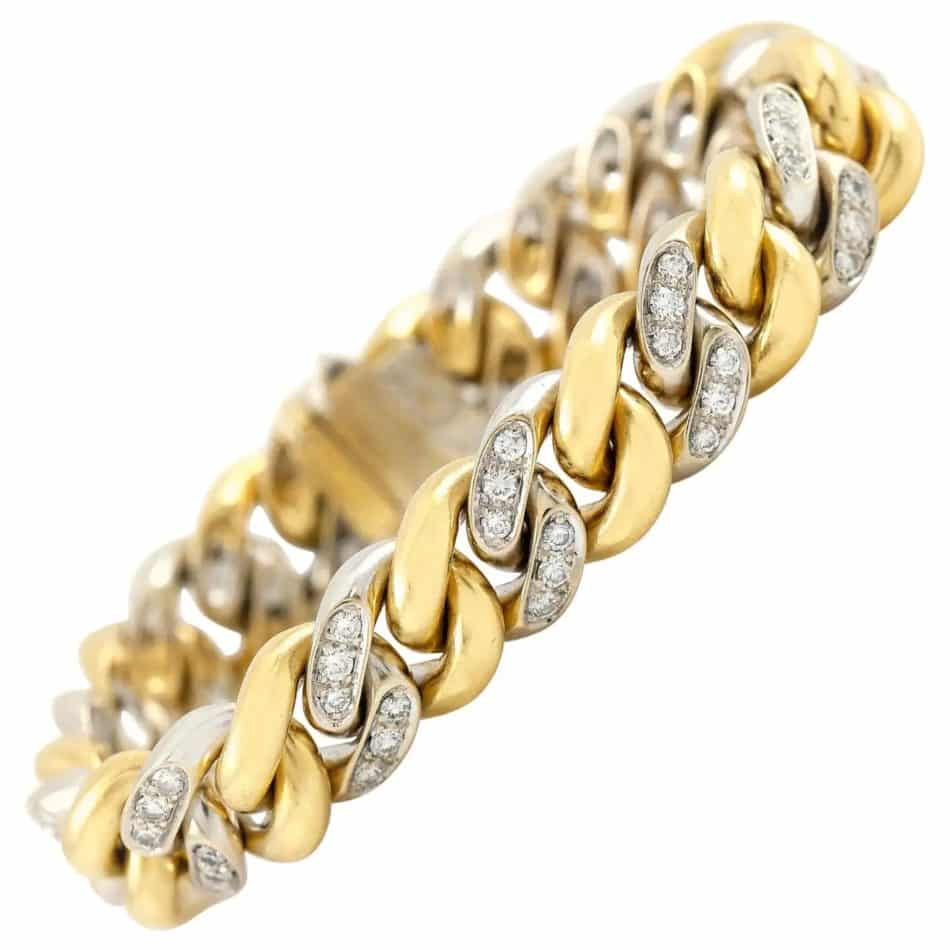 Pomellato curb-link gold and diamond bracelet, 1980, offered by Eric Originals and Antiques LTD