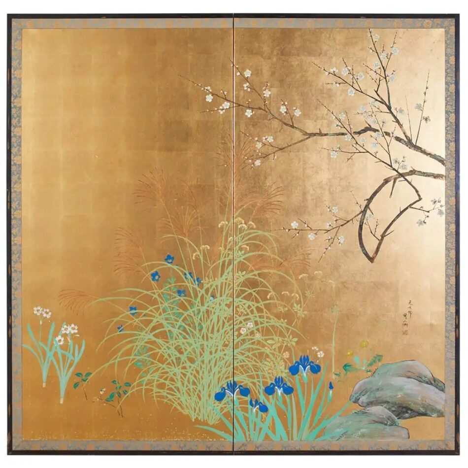 Japanese signed two-panel screen with flowering landscape, Mid-20th Century, offered by Erin Lane Estate