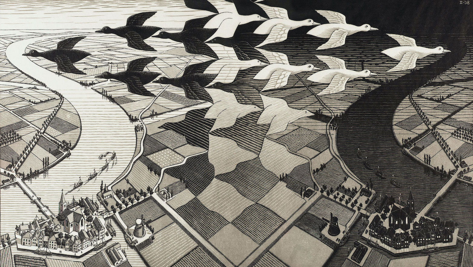Day and Night, 1938, by M.C. Escher
